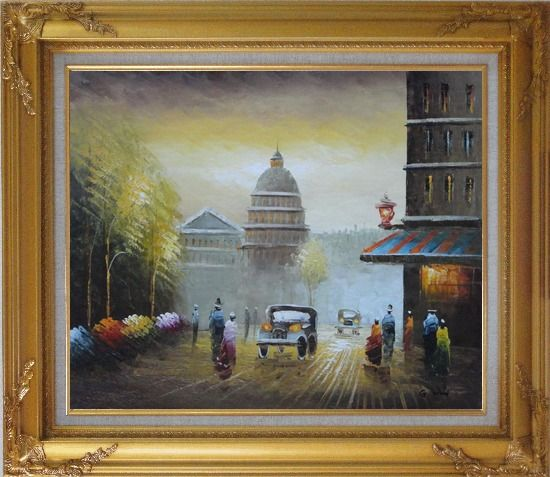 Framed Paris Street with Dome, Cars and Pedestrians Oil Painting Cityscape France Impressionism Gold Wood Frame with Deco Corners 27 x 31 Inches