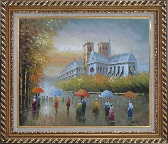 Framed Rainy Day Near Notre Dame Cathedral Oil Painting Cityscape France Impressionism Exquisite Gold Wood Frame 26 x 30 Inches