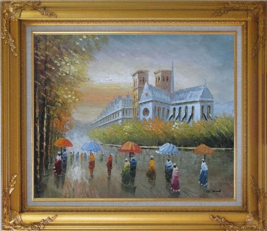 Framed Rainy Day Near Notre Dame Cathedral Oil Painting Cityscape France Impressionism Gold Wood Frame with Deco Corners 27 x 31 Inches
