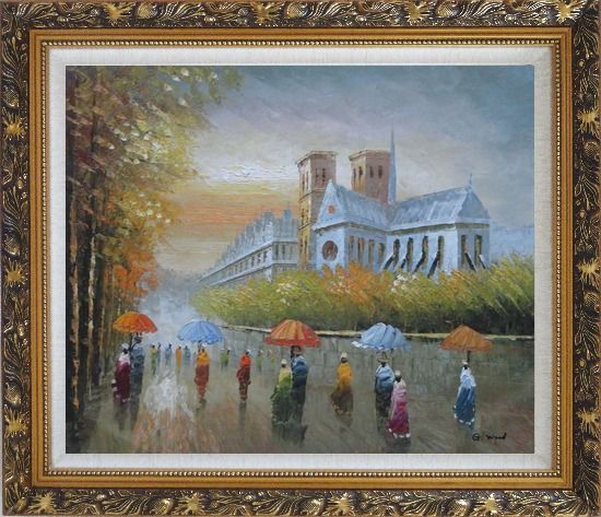 Framed Rainy Day Near Notre Dame Cathedral Oil Painting Cityscape France Impressionism Ornate Antique Dark Gold Wood Frame 26 x 30 Inches