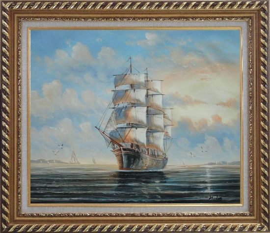 Framed Sailing Ship's Oceangoing Voyage Oil Painting Boat Classic Exquisite Gold Wood Frame 26 x 30 Inches