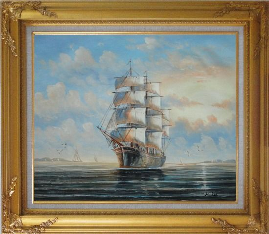 Framed Sailing Ship's Oceangoing Voyage Oil Painting Boat Classic Gold Wood Frame with Deco Corners 27 x 31 Inches