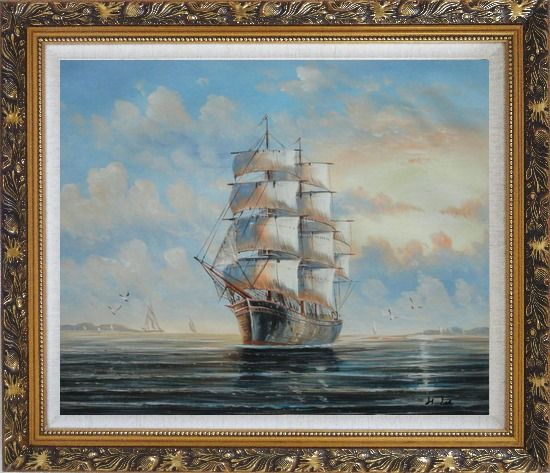 Framed Sailing Ship's Oceangoing Voyage Oil Painting Boat Classic Ornate Antique Dark Gold Wood Frame 26 x 30 Inches