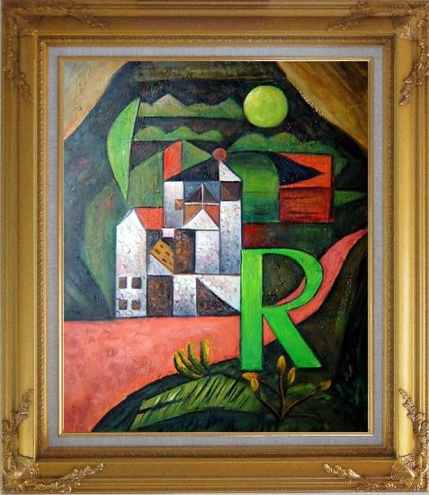 Framed Villa R Contemporary Landscape Scene Oil Painting Modern Gold Wood Frame with Deco Corners 31 x 27 Inches