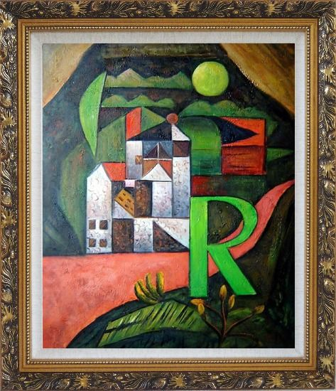 Framed Villa R Contemporary Landscape Scene Oil Painting Modern Ornate Antique Dark Gold Wood Frame 30 x 26 Inches