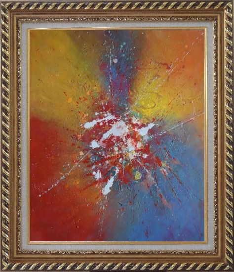 Framed Abstract Colorful Splatters & Spots Oil Painting Nonobjective Modern Exquisite Gold Wood Frame 30 x 26 Inches