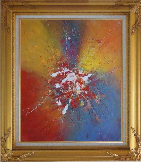 Framed Abstract Colorful Splatters & Spots Oil Painting Nonobjective Modern Gold Wood Frame with Deco Corners 31 x 27 Inches