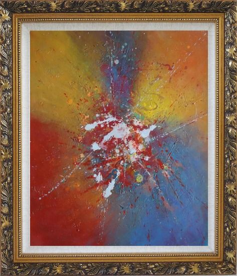 Framed Abstract Colorful Splatters & Spots Oil Painting Nonobjective Modern Ornate Antique Dark Gold Wood Frame 30 x 26 Inches