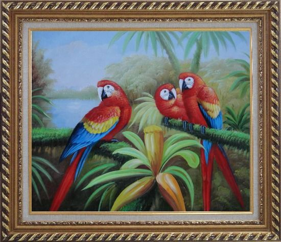 Framed Three Red and Blue Parrots on Tree Oil Painting Animal Naturalism Exquisite Gold Wood Frame 26 x 30 Inches