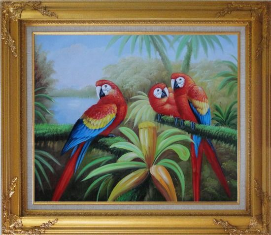 Framed Three Red and Blue Parrots on Tree Oil Painting Animal Naturalism Gold Wood Frame with Deco Corners 27 x 31 Inches