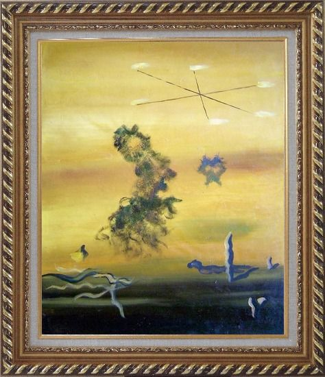 Framed Cryptic Sky Oil Painting Nonobjective Modern Exquisite Gold Wood Frame 30 x 26 Inches