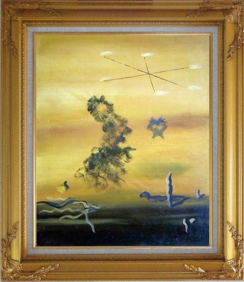 Framed Cryptic Sky Oil Painting Nonobjective Modern Gold Wood Frame with Deco Corners 31 x 27 Inches