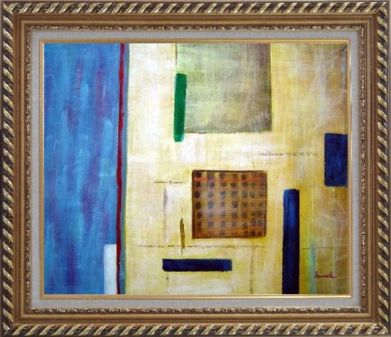 Framed Patchwork with Blue, Orange and Green Oil Painting Nonobjective Modern Exquisite Gold Wood Frame 26 x 30 Inches