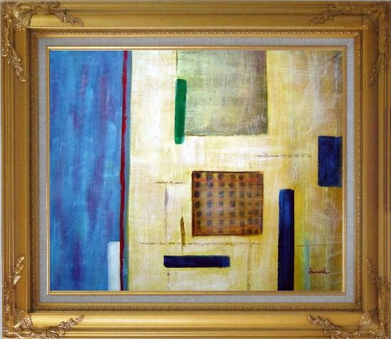 Framed Patchwork with Blue, Orange and Green Oil Painting Nonobjective Modern Gold Wood Frame with Deco Corners 27 x 31 Inches