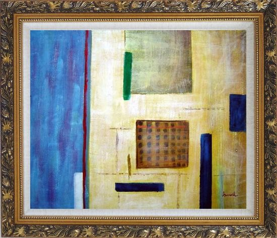 Framed Patchwork with Blue, Orange and Green Oil Painting Nonobjective Modern Ornate Antique Dark Gold Wood Frame 26 x 30 Inches