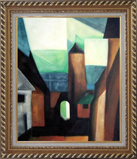 Framed Space between Houses Oil Painting Cityscape Modern Exquisite Gold Wood Frame 30 x 26 Inches