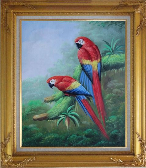 Framed Pair of Red and Blue Parrots on Tree Oil Painting Animal Naturalism Gold Wood Frame with Deco Corners 31 x 27 Inches