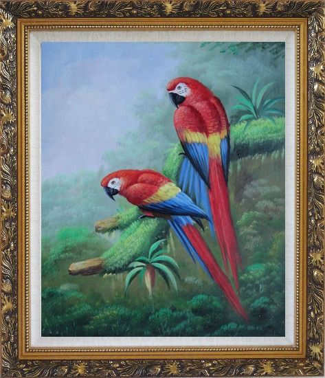 Framed Pair of Red and Blue Parrots on Tree Oil Painting Animal Naturalism Ornate Antique Dark Gold Wood Frame 30 x 26 Inches