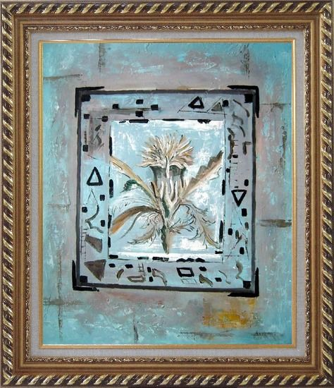 Framed White Flower in a Frame Oil Painting Nonobjective Modern Exquisite Gold Wood Frame 30 x 26 Inches