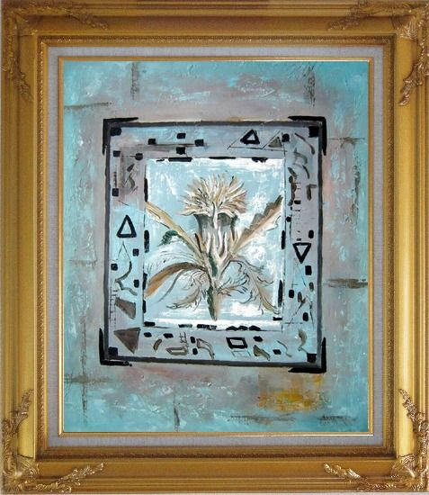 Framed White Flower in a Frame Oil Painting Nonobjective Modern Gold Wood Frame with Deco Corners 31 x 27 Inches