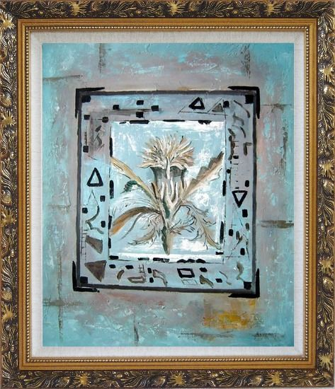 Framed White Flower in a Frame Oil Painting Nonobjective Modern Ornate Antique Dark Gold Wood Frame 30 x 26 Inches