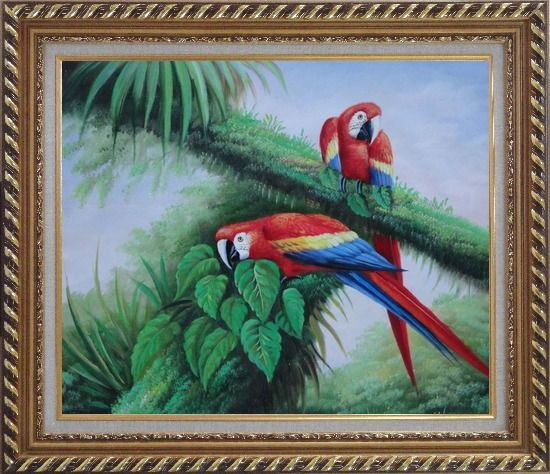 Framed Red and Blue Macaw Resting on Branches of Tree Oil Painting Animal Parrot Naturalism Exquisite Gold Wood Frame 26 x 30 Inches
