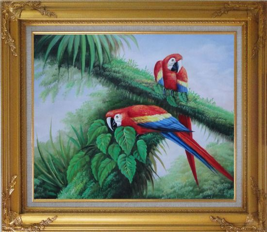 Framed Red and Blue Macaw Resting on Branches of Tree Oil Painting Animal Parrot Naturalism Gold Wood Frame with Deco Corners 27 x 31 Inches
