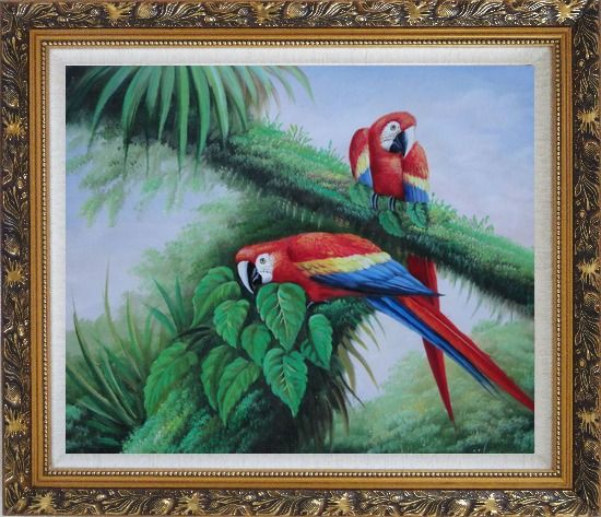 Framed Red and Blue Macaw Resting on Branches of Tree Oil Painting Animal Parrot Naturalism Ornate Antique Dark Gold Wood Frame 26 x 30 Inches