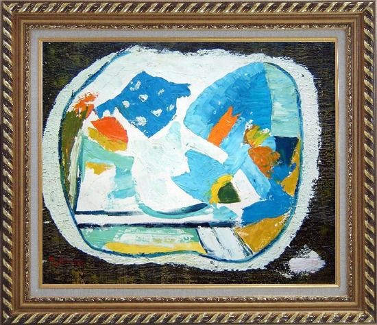 Framed Still Life, Composition of Flowers Oil Painting Modern Dadaist Exquisite Gold Wood Frame 26 x 30 Inches