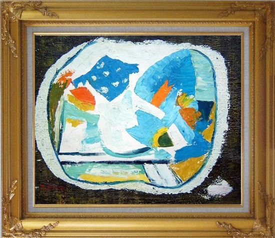 Framed Still Life, Composition of Flowers Oil Painting Modern Dadaist Gold Wood Frame with Deco Corners 27 x 31 Inches