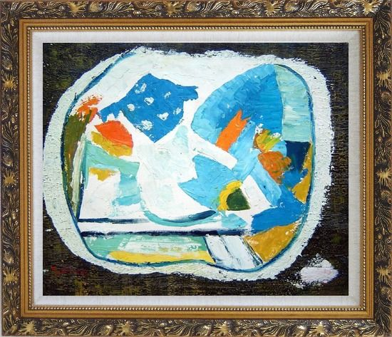 Framed Still Life, Composition of Flowers Oil Painting Modern Dadaist Ornate Antique Dark Gold Wood Frame 26 x 30 Inches