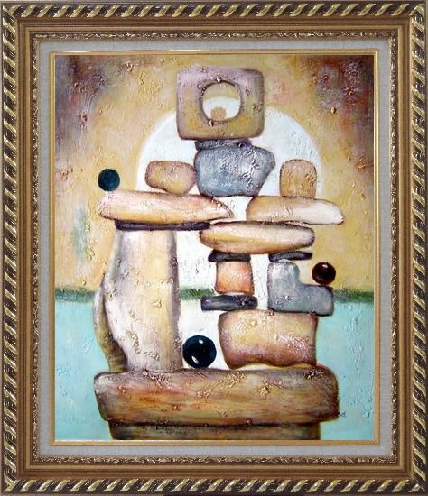 Framed Stone Structure Oil Painting Nonobjective Modern Exquisite Gold Wood Frame 30 x 26 Inches