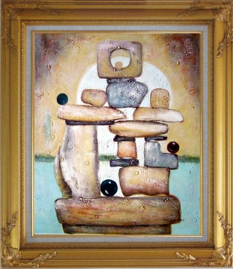 Framed Stone Structure Oil Painting Nonobjective Modern Gold Wood Frame with Deco Corners 31 x 27 Inches