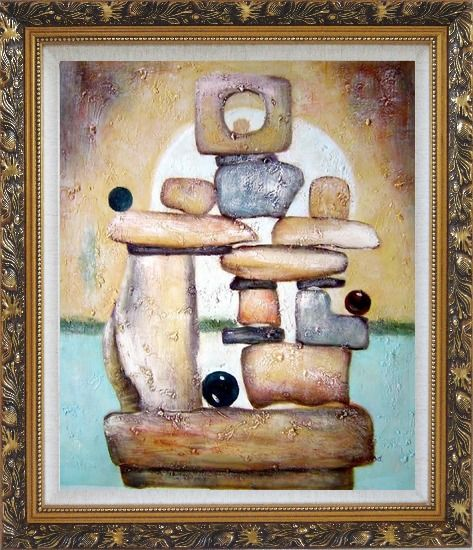 Framed Stone Structure Oil Painting Nonobjective Modern Ornate Antique Dark Gold Wood Frame 30 x 26 Inches