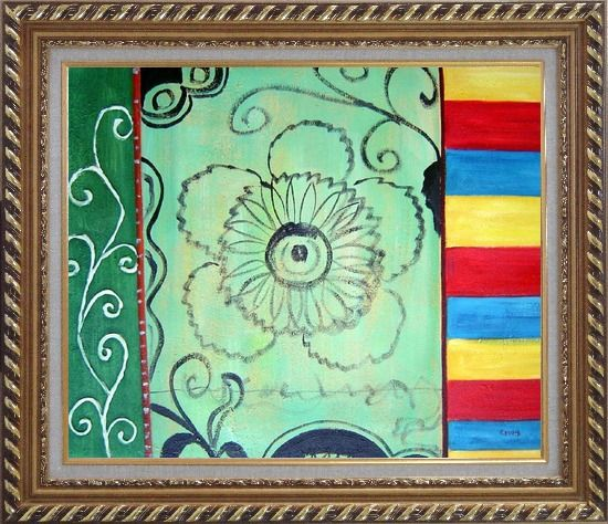 Framed Three Patterns of Lines, Flower, and Yellow Red Blue Palette Oil Painting Nonobjective Modern Exquisite Gold Wood Frame 26 x 30 Inches