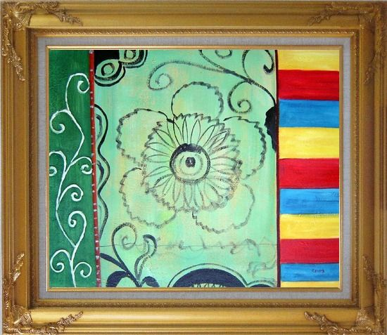 Framed Three Patterns of Lines, Flower, and Yellow Red Blue Palette Oil Painting Nonobjective Modern Gold Wood Frame with Deco Corners 27 x 31 Inches