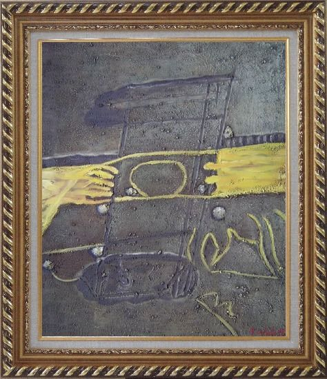 Framed Yellow Pattern on Earth Oil Painting Nonobjective Modern Exquisite Gold Wood Frame 30 x 26 Inches