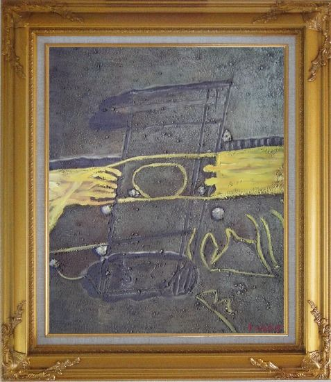 Framed Yellow Pattern on Earth Oil Painting Nonobjective Modern Gold Wood Frame with Deco Corners 31 x 27 Inches
