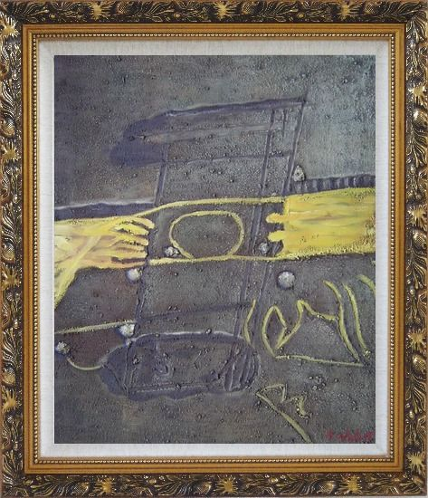 Framed Yellow Pattern on Earth Oil Painting Nonobjective Modern Ornate Antique Dark Gold Wood Frame 30 x 26 Inches