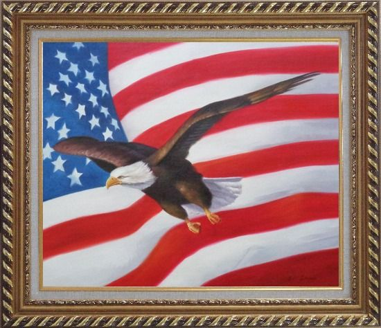 Framed Flying Bald Eagle with American Flag Oil Painting Animal Naturalism Exquisite Gold Wood Frame 26 x 30 Inches