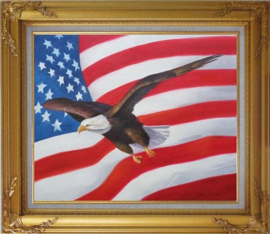 Framed Flying Bald Eagle with American Flag Oil Painting Animal Naturalism Gold Wood Frame with Deco Corners 27 x 31 Inches
