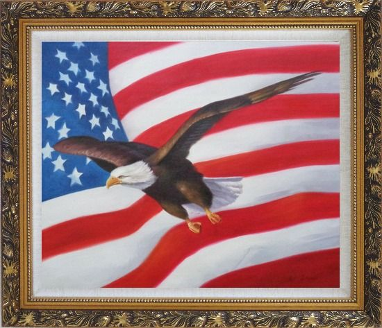 Framed Flying Bald Eagle with American Flag Oil Painting Animal Naturalism Ornate Antique Dark Gold Wood Frame 26 x 30 Inches