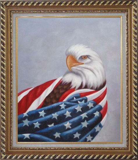 Framed American Eagle / USA Flag Oil Painting Animal Naturalism Exquisite Gold Wood Frame 30 x 26 Inches