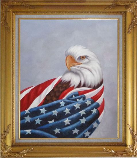 Framed American Eagle / USA Flag Oil Painting Animal Naturalism Gold Wood Frame with Deco Corners 31 x 27 Inches