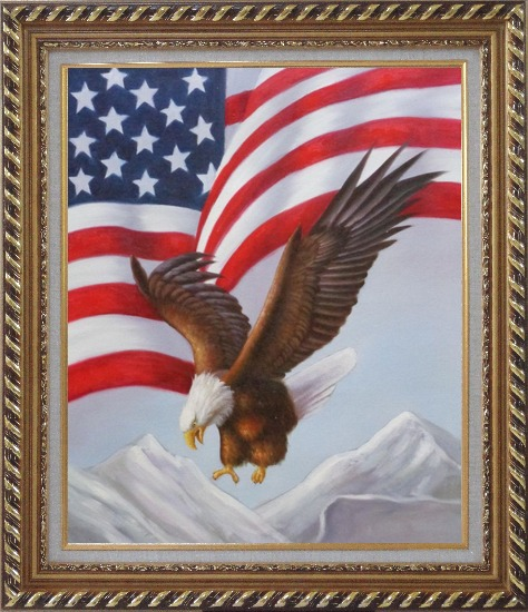 Framed Bald Eagle Flying by American Flag Oil Painting Animal Naturalism Exquisite Gold Wood Frame 30 x 26 Inches