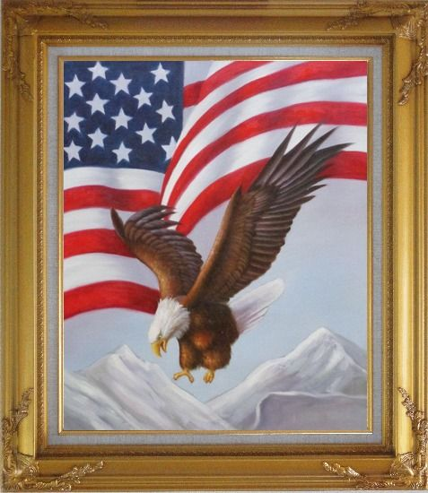 Framed Bald Eagle Flying by American Flag Oil Painting Animal Naturalism Gold Wood Frame with Deco Corners 31 x 27 Inches