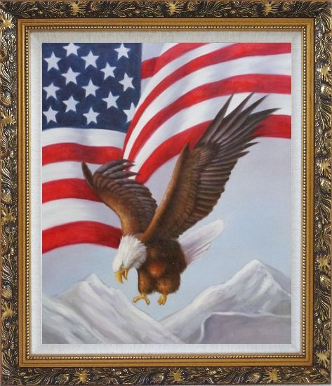 Framed Bald Eagle Flying by American Flag Oil Painting Animal Naturalism Ornate Antique Dark Gold Wood Frame 30 x 26 Inches