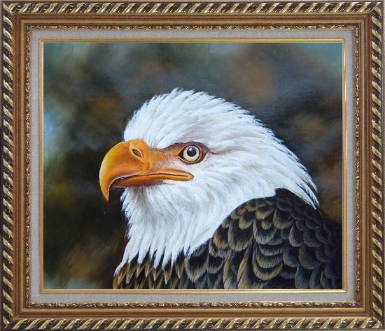 Framed Proud and Brave National Emblem - Bald Eagle Oil Painting Animal Naturalism Exquisite Gold Wood Frame 26 x 30 Inches
