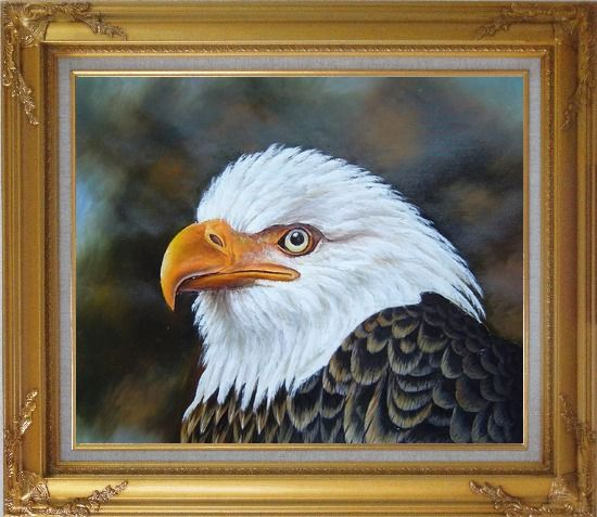 Framed Proud and Brave National Emblem - Bald Eagle Oil Painting Animal Naturalism Gold Wood Frame with Deco Corners 27 x 31 Inches