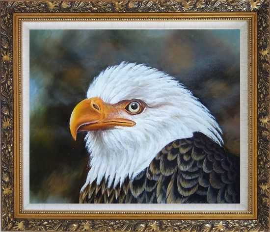 Framed Proud and Brave National Emblem - Bald Eagle Oil Painting Animal Naturalism Ornate Antique Dark Gold Wood Frame 26 x 30 Inches